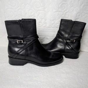Clarks Black Boots/ Booties with Buckle Accent
